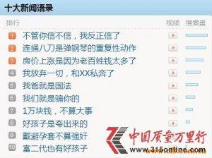 """2011年十大新闻语录 """"反正我信了""""问鼎榜首"""